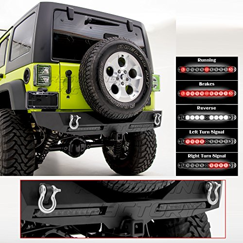 (Restyling Factory -Rock Crawler Rear Bumper w/ TWIN Smoke Lens 3rd Brake, Reverse, Turn Signal, Running Light LED Smoke Light Bar and 2