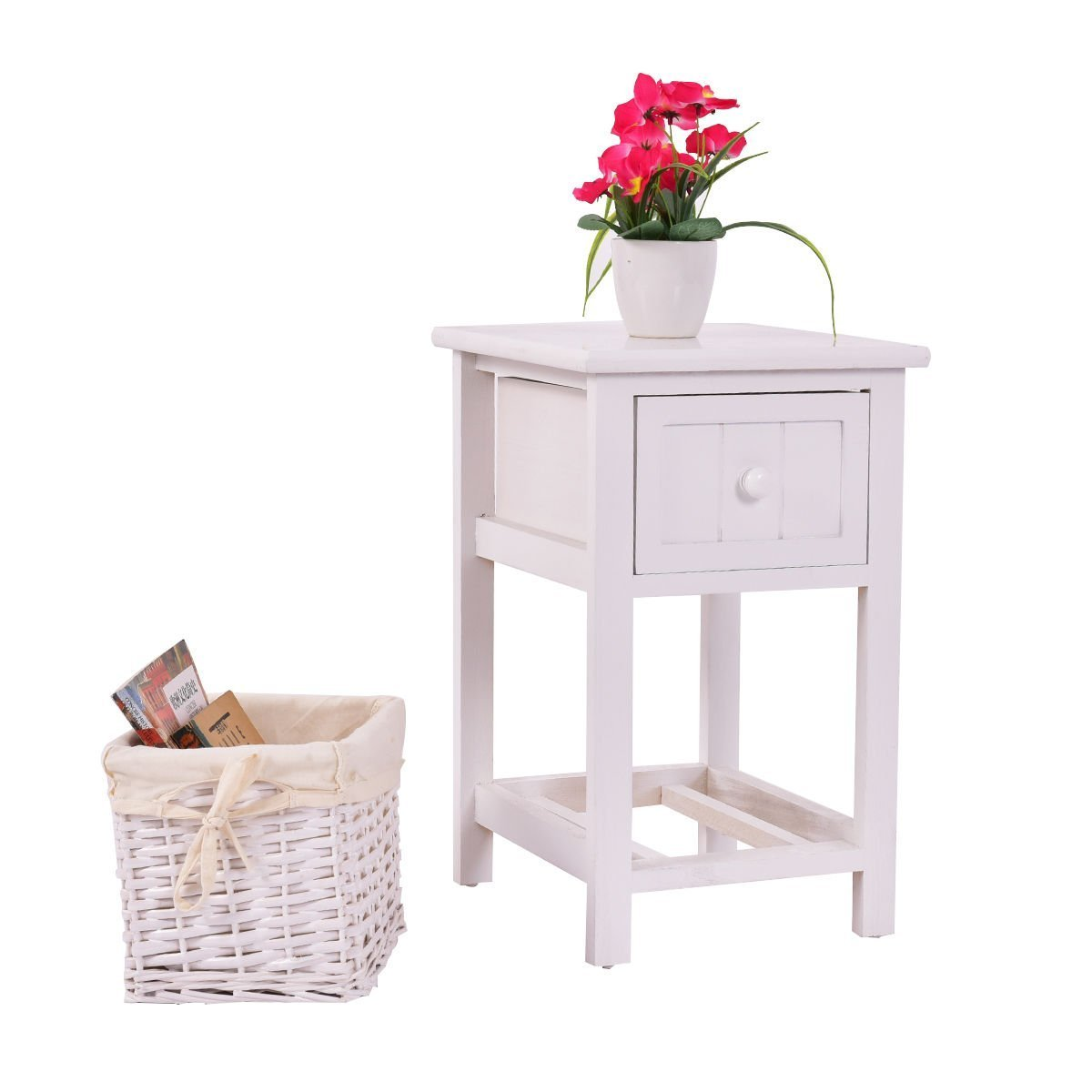 Giantex Mini Night Stand with Drawer and Layer Wood Bedside End Table Organizer Bedroom Nighstands with Wicker Basket