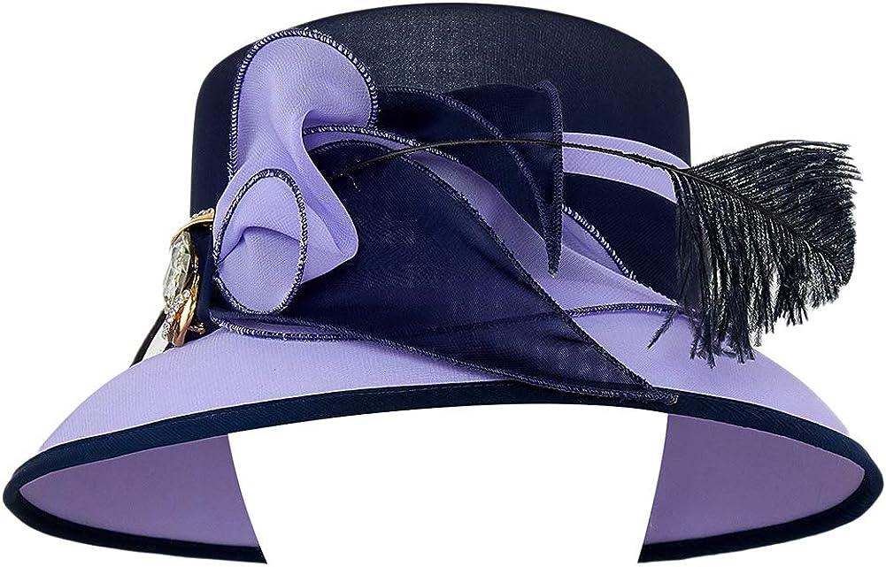 Koola Chapeau de mariage en sinamay pour femme avec large bord