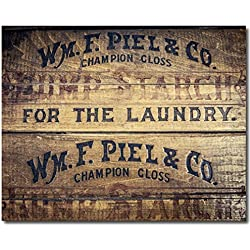 Rustic Laundry Room Decor, Photograph of Vintage Starch Crate for Washroom Art.