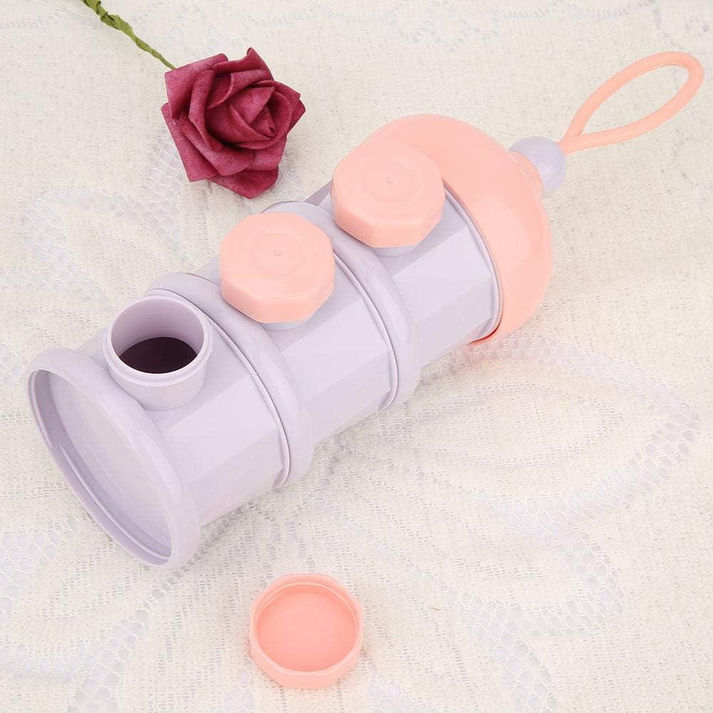 Dispensador de f/órmula de leche en polvo para beb/é apilable 3 compartimientos Biber/ón de almacenamiento de alimentos para beb/és Contenedor de leche en polvo para alimentaci/ón infantil Pink