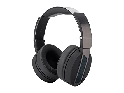 311cd1849a1 Monoprice Bluetooth Wireless Over Ear Headphones - Rechargeable - Black  Brushed Metal with Built in mic