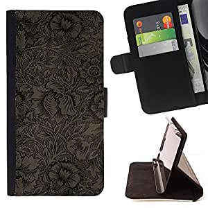 For Samsung Galaxy S4 Mini i9190 Wallpaper Pattern Floral Coffee Flowers Style PU Leather Case Wallet Flip Stand Flap Closure Cover