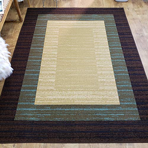 Area Rug 5x7 Brown Border Stripe Kitchen Rugs mats | Rubber Backed Non Skid Living Room Bathroom Nursery Home Decor Under Door Entryway Floor Non Slip Washable | Made in Europe ()