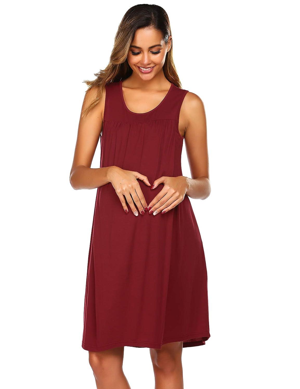 Ekouaer Womens Maternity Dress Hospital Nursing Nightgown Breastfeeding Nightshirt Sleepwear S-XXL