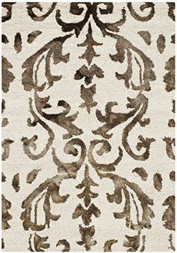 Safavieh Dip Dye Collection DDY689B Handmade Geometric Watercolor Ivory and Chocolate Wool Area Rug 2 x 3