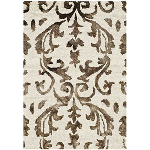 Safavieh Dip Dye Collection DDY689B Handmade Geometric Watercolor Ivory and Chocolate Wool Area Rug (2' x 3')