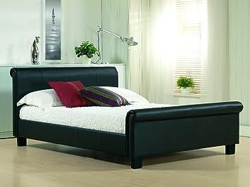 Negro piel estilo trineo King Size 5 pies cama marco - (colchón no incluido): Amazon.es: Hogar