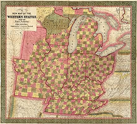 1846 Large Wall Map Western Frontier Michigan Illinois Ohio ...