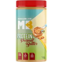MuscleBlaze High Protein Natural Peanut Butter Unsweetened, Crunchy 750g