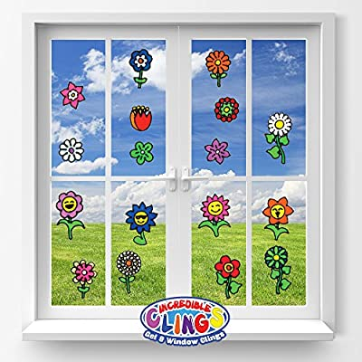 JesPlay Flowers Flexible Gel Clings - Glass Window Clings for Kids and Adults - Sunflower, Rose, Tulip, Daisy Reusable Gel Decals for Home, Airplane, Classroom, Nursery Decoration: Toys & Games