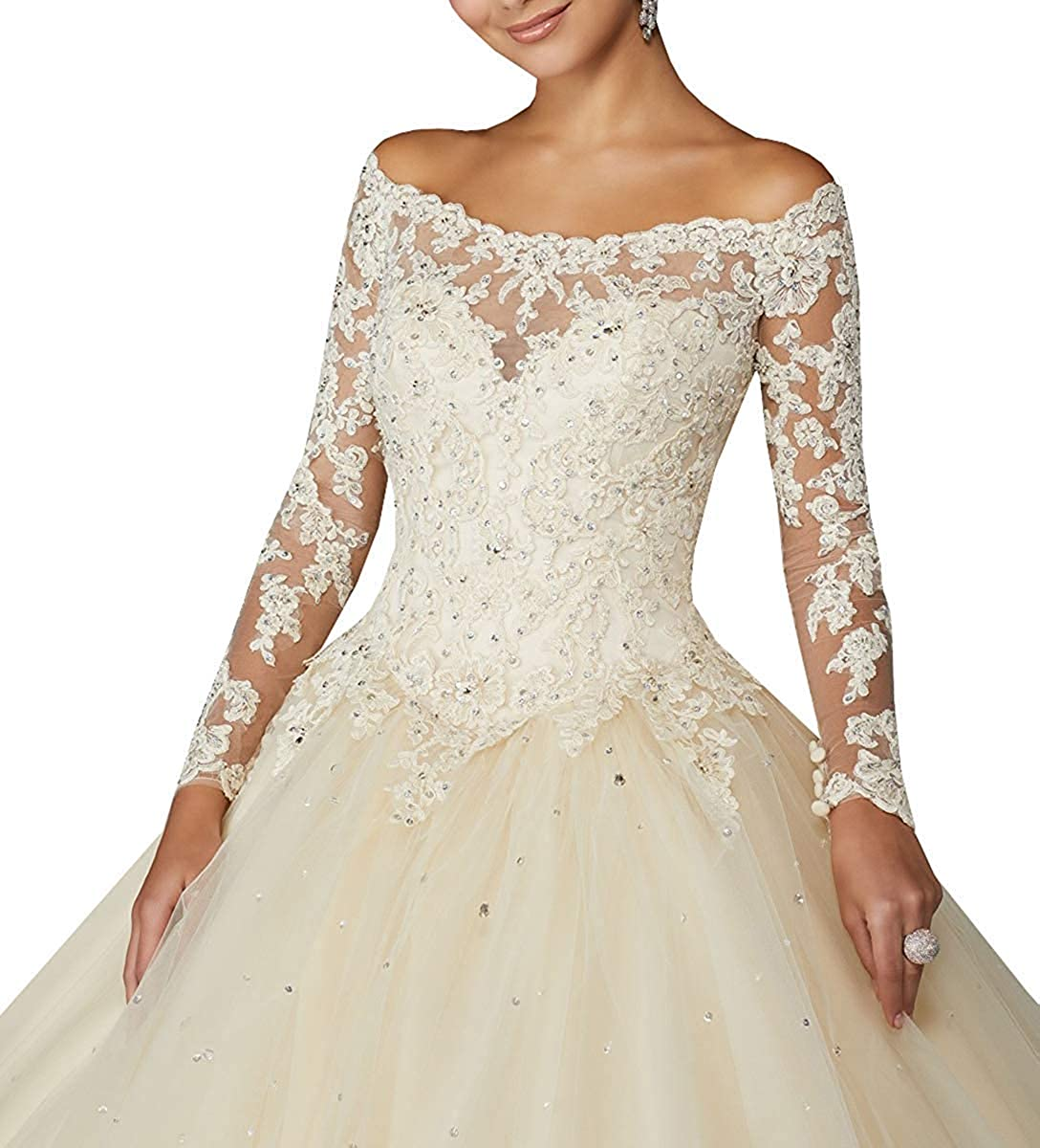 Sophie Womens Off Shoulder Lace Appliques Sweet 16 Dresses Long Sleeves Beaded Ball Gown Quinceanera Dresses S197