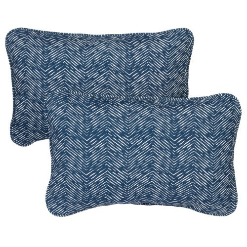 Mozaic Company Indoor/Outdoor 13 by 20-inch Corded Pillow, Navy Herringbone, Set of 2 [並行輸入品] B07R6YMY6C