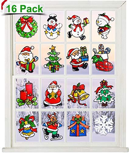 COMISU 16 Pcs Christmas Window Clings Decorations Gel Christmas Window Decors Christmas Window Stickers Snowflake Snowman Christmas Tree Reusable No Repeated