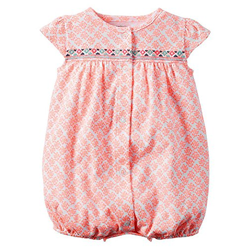 Carter's Baby Girls 1-piece Print Snap-Up Romper (9 Months, Orange Medallion) Medallion Snap