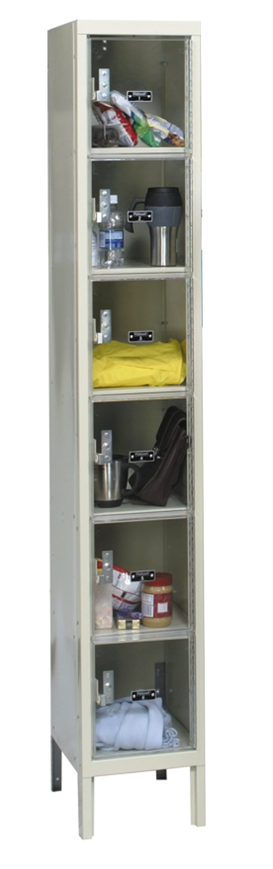 Hallowell USVP1258-6PT Safety-View Plus Locker, 12'' Width x 15'' Depth x 78'' Height, 6-Tier, 1-Wide, Knock-Down, 729 Parchment