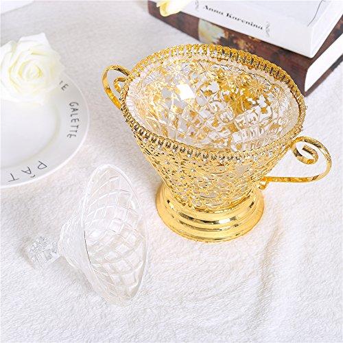 Vintage Gold Crystal Bowls Decorative Centerpieces Compote Salad Bowl with Lids Handles & Pedestal Vase Base Decor Crystals Retro Flower Carving Metal Server for Fruit,Dessert on Wedding Parties