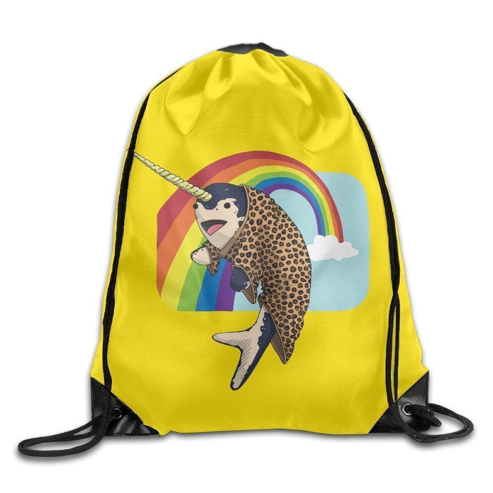 Narwhal Leopard Snuggie Rainbow Sport Bag Drawstring Backpack Harots