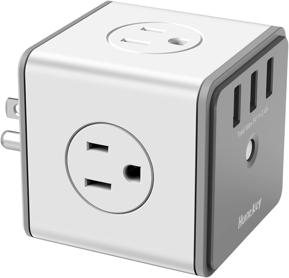 Huntkey Surge Protector USB Wall Adapter with 4 AC Outlets 3 USB Charging Ports SMC007