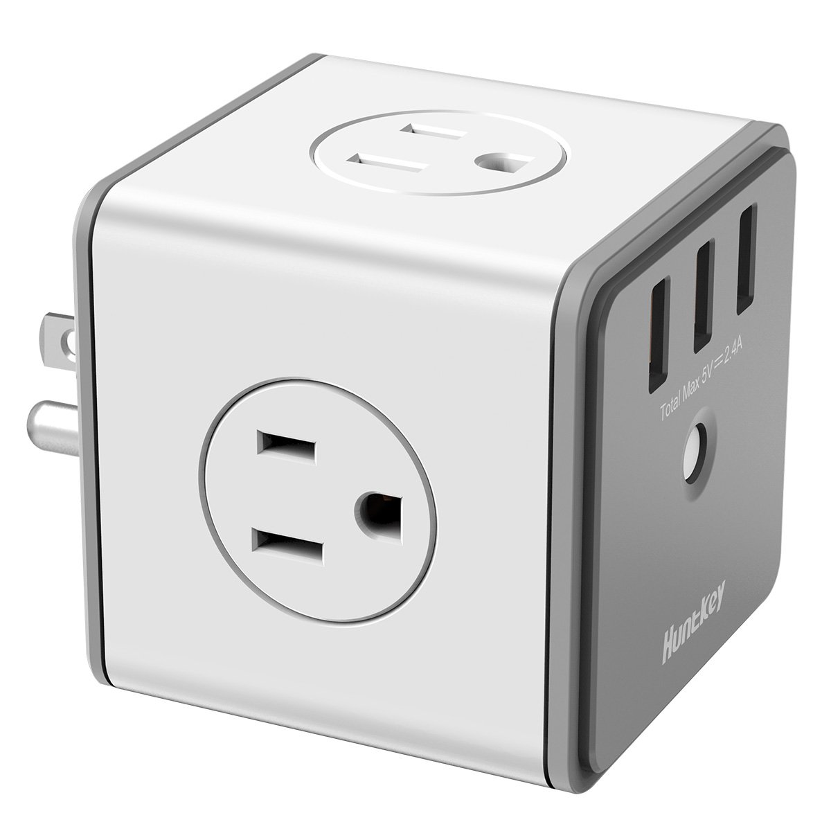Huntkey Cubic Surge Protector USB Wall Adapter with 4 AC Outlets 3 USB Charging Ports (SMC007)