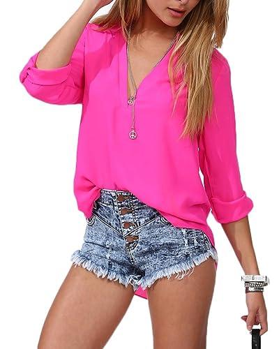 Camiseta para mujer, Ocio Gasa Camisa de Manga Larga Blusa Cuello en V