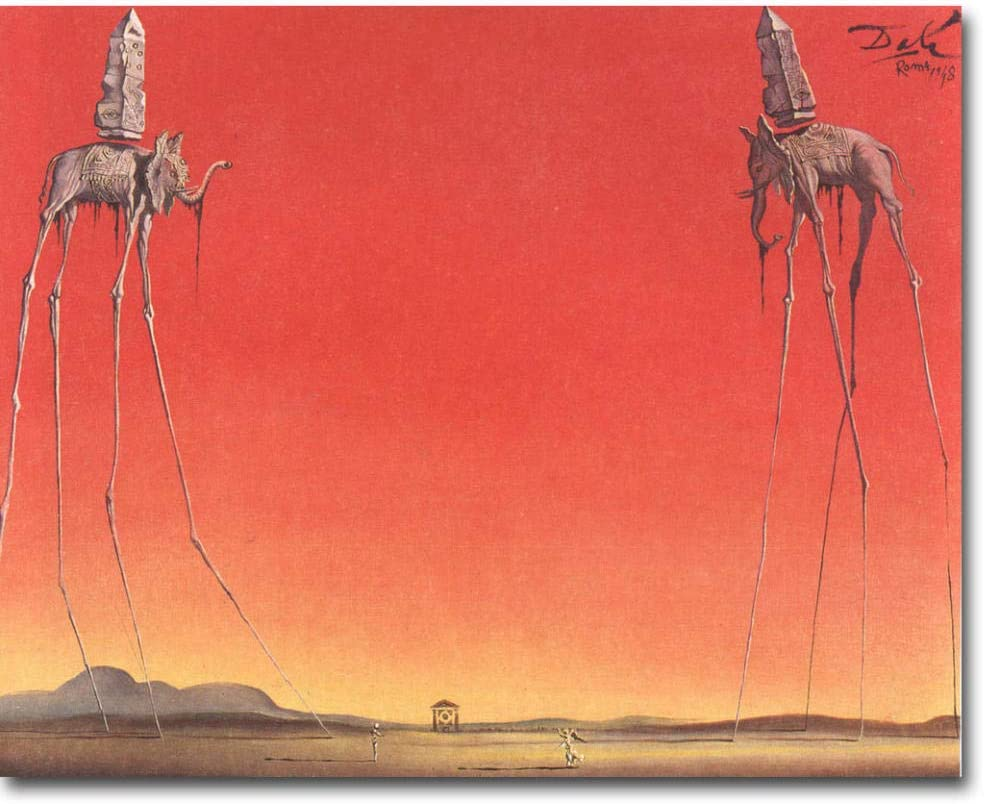 Amazon.com: The Elephants - Salvador Dali Artwork Art Print Abstract  Picture for Living Room Wall Decor