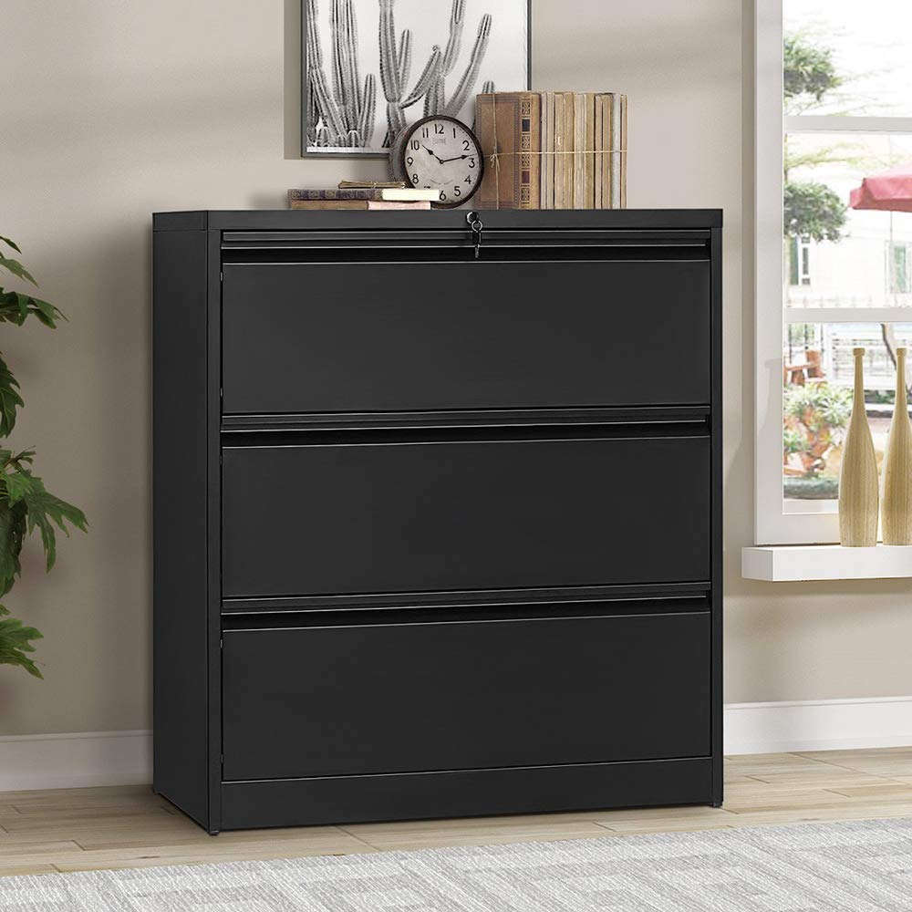 Lateral File Cabinet Lockable Metal Heavy Duty 3 Drawer Lateral File Cabinet by Hooseng