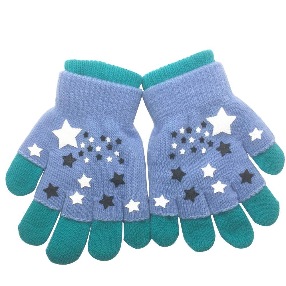 Fenical 2 in 1 Design volle und halbe Finger Handschuhe Winter Kinder warme Handschuhe Cartoon gestrickte Stretch Handschuhe Patchwork elastische Handschuhe Fit für 6-12 Jahre alte Kinder 03344PGT14YY