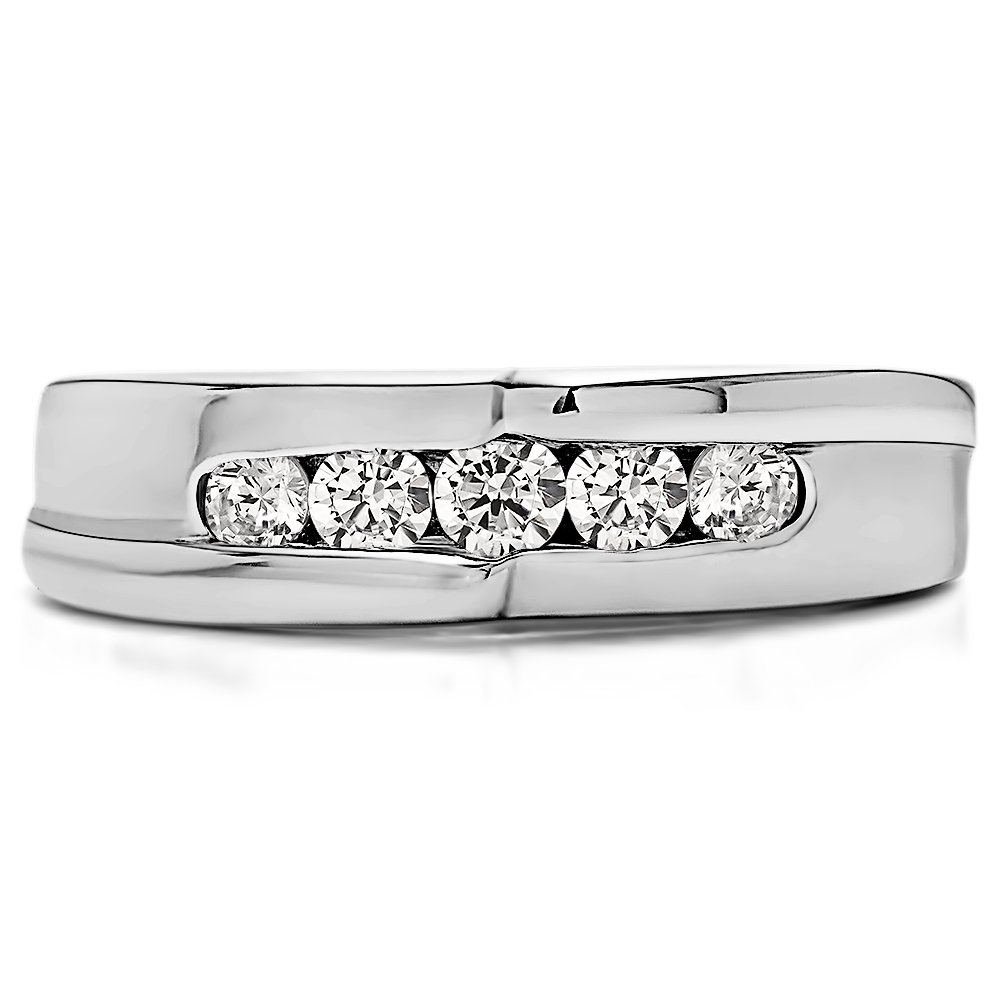 0.49Ct G-H,I2-I3 Size 3 to 15 in 1//4 Size Intervals Sterling Silver Gents Ring Diamonds