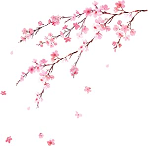 DECOWALL DWL-2003 Watercolor Cherry Blossoms Kids Wall Stickers Wall Decals Peel and Stick Removable Wall Stickers for Kids Nursery Bedroom Living Room décor