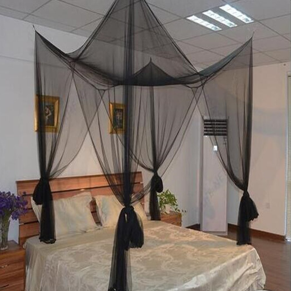 RONSHIN 4 Corner Post Mosquito Net Full Queen King Size Bed Canopy Decor