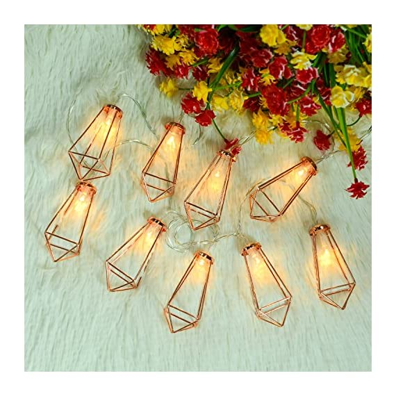 Omika 20 LED Rose Gold Geometric Fairy Lights - USB & Battery Powered, Boho Metal Cage Bedroom String Lights for Wedding Decorations Party Indoor Patio Camping Wall Decor, 10 Ft/3m - Innovative design Metal Geometric LED Lantern fairy light, made with high quality metal material. Available in sizes 300cm (10ft), 15cm length between 2 bulbs, and 15cm leading circuit, smart and classy rose gold colour. Create a romantic environment with attractive display, very light weight, easy to hang, use less electricity, 100% satisfaction guarantee. - patio, outdoor-lights, outdoor-decor - 61ZFQZojERL. SS570  -