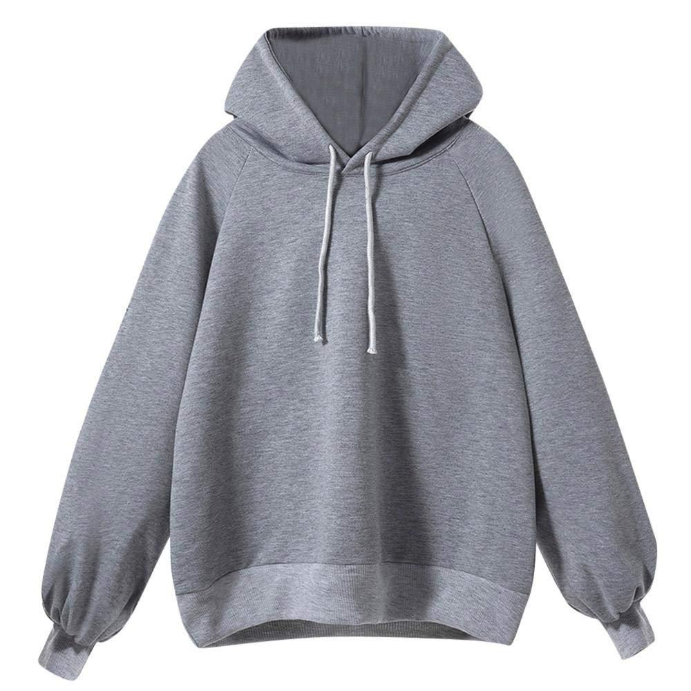 FANOUD Autumn Lantern Sleeve Sweater Long Sleeve Loose Thin Hooded Blouse