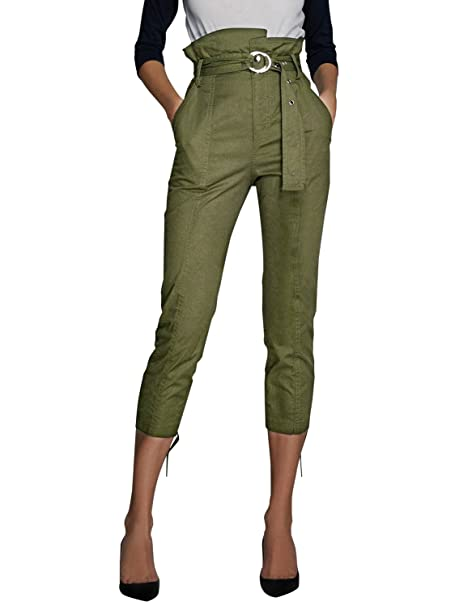 3c92e51a028 BerryGo Women s Casual High Waist Cotton Tie Waist Slim Capri Trouser Pants  Army Green