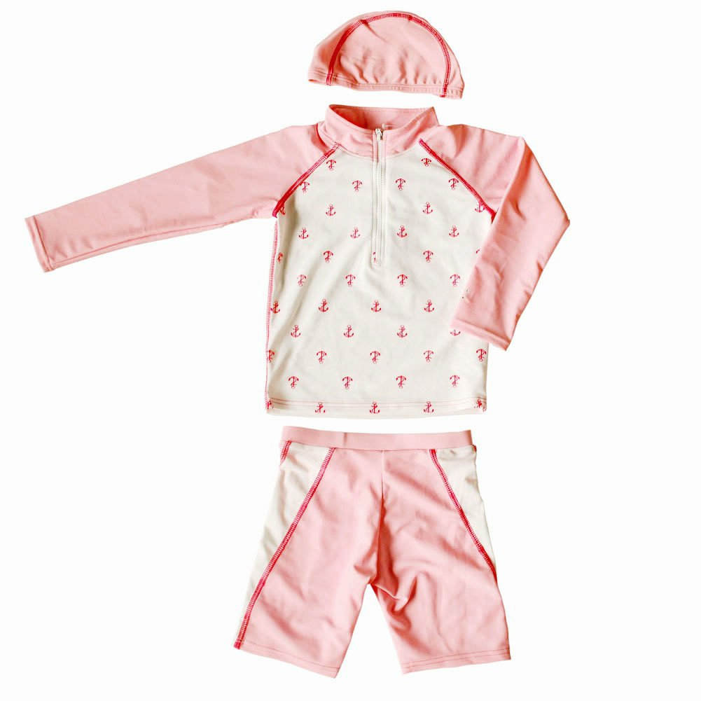 Pink& White Girls Swimsuit Long Sleeve Two Piece Beach Wear, 4T,3-4 Years Old PANDA SUPERSTORE PS-SPO2420250011-EMILY00884