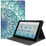 Fintie Case for All-New Amazon Fire HD 10 Tablet (7th Generation, 2017 Release) - [Sleek Shield] Premium PU Leather Slim Fit Multi Angle Stand Cover with Pocket Auto Wake/Sleep, Emerald Illusions
