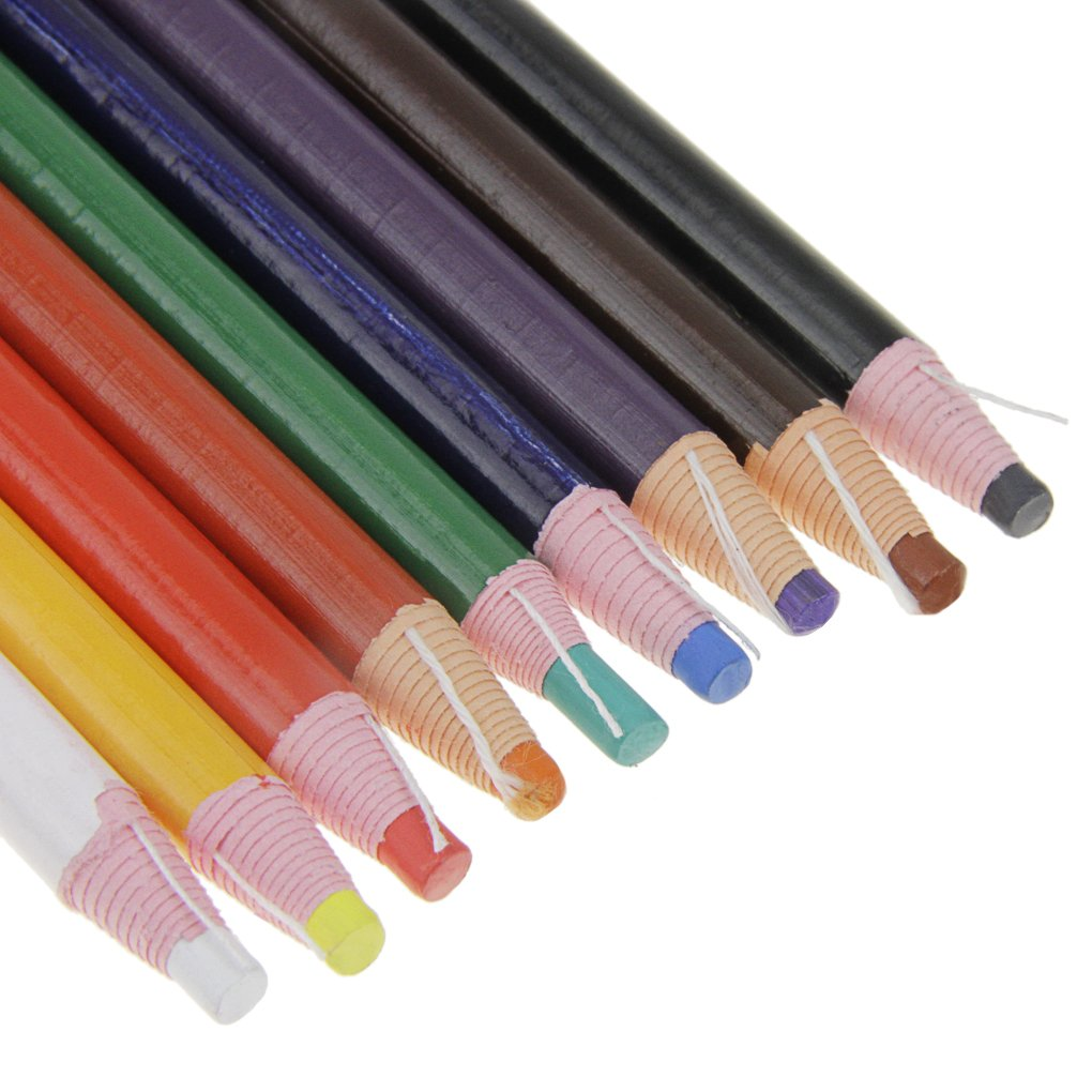 Peel-Off China Markers Grease Wax Pencil for Glass Cellophane Fabric,Metal,Kids Non Toxic Art Crayons Marking Pencils Paper-wrapped 9 Pcs Assorted Colors Painting Pen for Coloring Drawing Marking