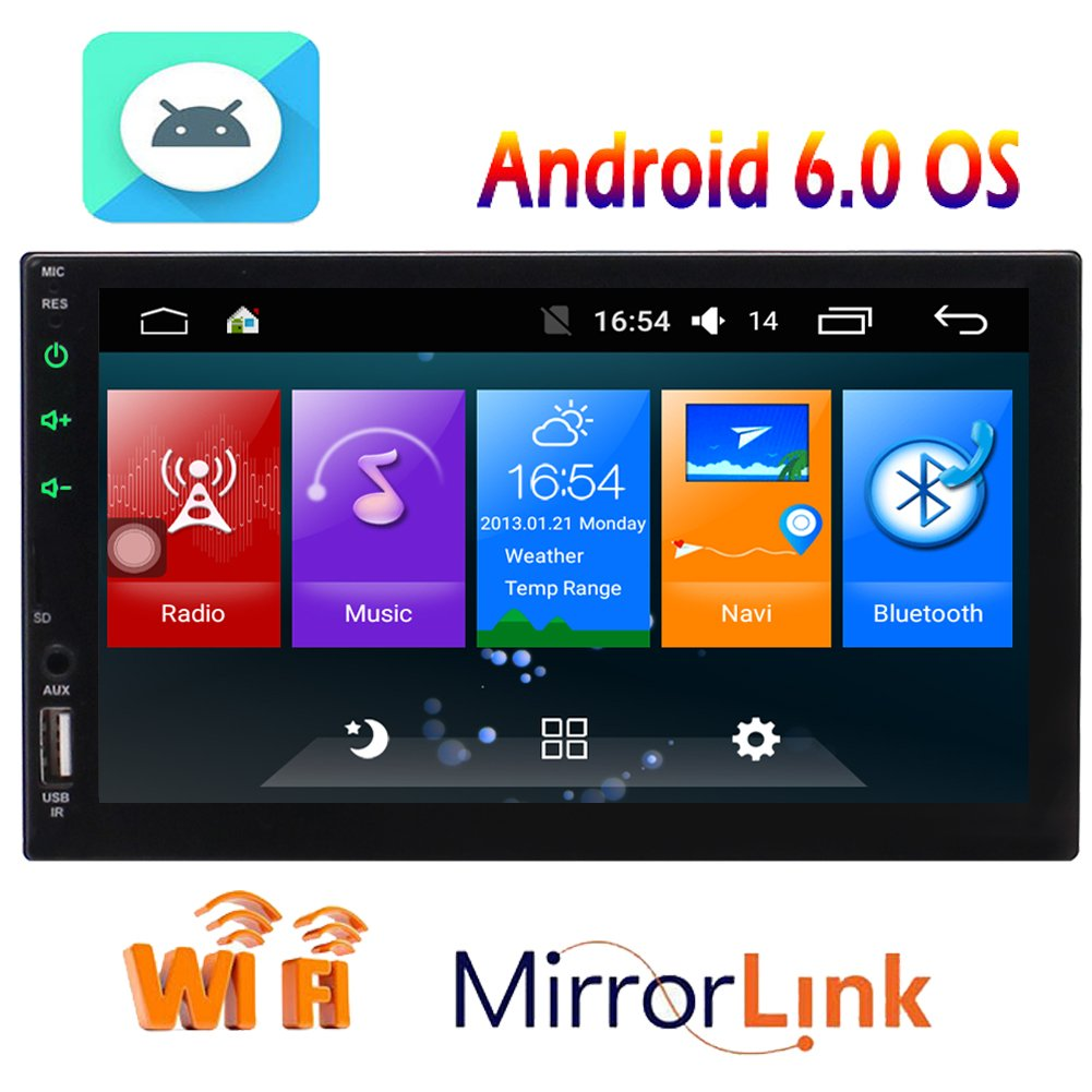 Android 6.0 System in Dash 7 inch Double 2 Din Head Unit Car Stereo am FM RDS Radio MP5 Player Support GPS Navigation Bluetooth WIFI 4G/3G CAM-IN OBD2 Mirror Link Function Receiver built-in Microphone EGood CO. LTD. TT.AN7023GNN2
