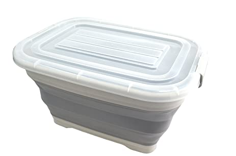 SAMMART Collapsible Plastic Storage Box With Rolling Wheel U0026 Locking Lid    Foldable Extra Large Size