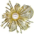 SUNNYHER Fashion CZ Jewelry Pearl Orchid Flower Bouquet Brooch Lapel Pin for Women Girl