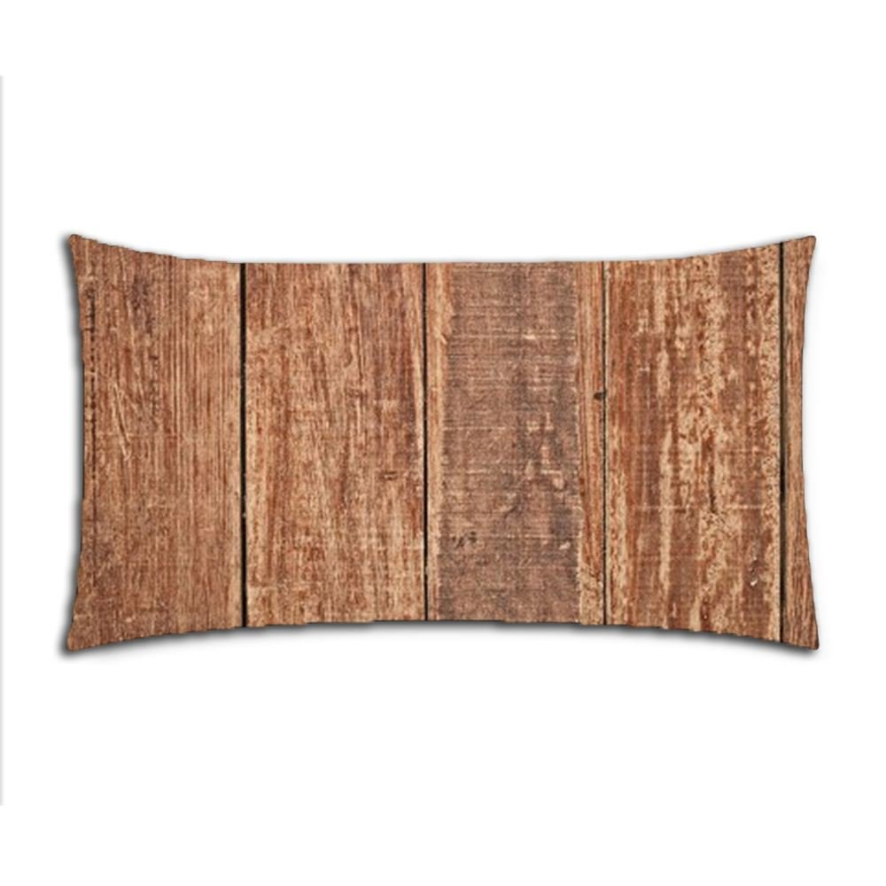 Custom Solid Wood Floors Cotton Polyester Pillowcase Pillow Cover With Zipper King Size 20x36 (Twin Sides)