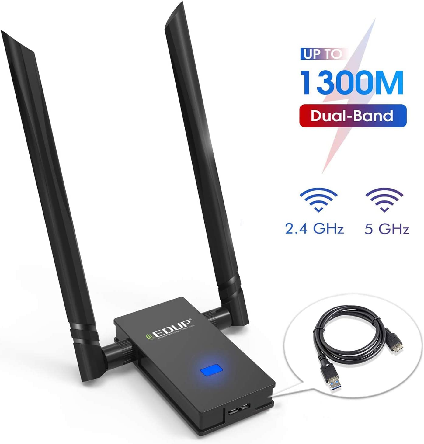 EDUP WiFi Adapter 1300Mbps USB 3.0 High Gain Wireless Adapter 802.11AC Dual Band with 5G/867Mbps 2.4G/400Mbps 6DBI External Dual Antennas Supports Windows 10/8.1/8/7/XP/Vista, Mac OS X 10.7-10.15