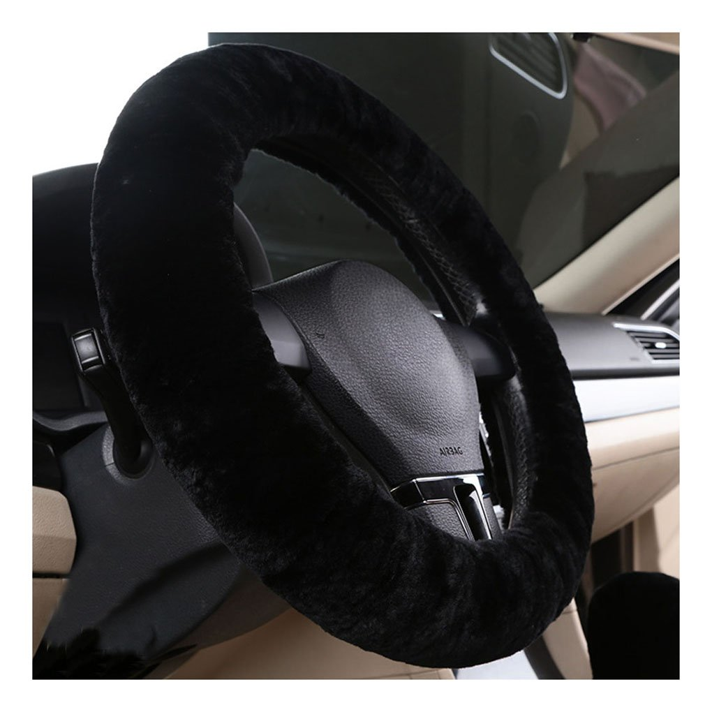 Automotive Steering Wheel Cover Elastic Warm Microfiber Plush Cover Thick Comfortable Durable Steering Wheel Wrap Anti Slip and Sweat Absorption Protection Cover Universal Size