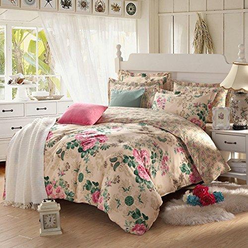 YIweNi Pure cotton bedding linen 4 piece idyllic princess cotton, flowers, starring Specifications ()