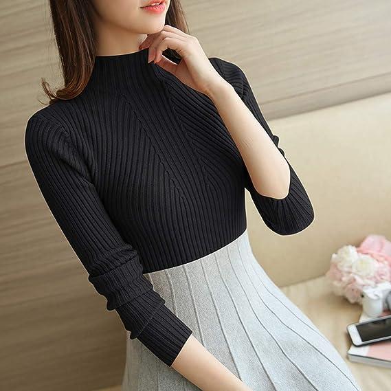 Gugavivid Blusas de Punto Delgadas de Color sólido para Mujer ...