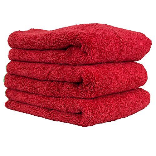 Chemical Guys MIC99703 16″ x 24″ Fluffer Miracle Supra Mircofiber Towel Red/Green Trim (Pack of 3)