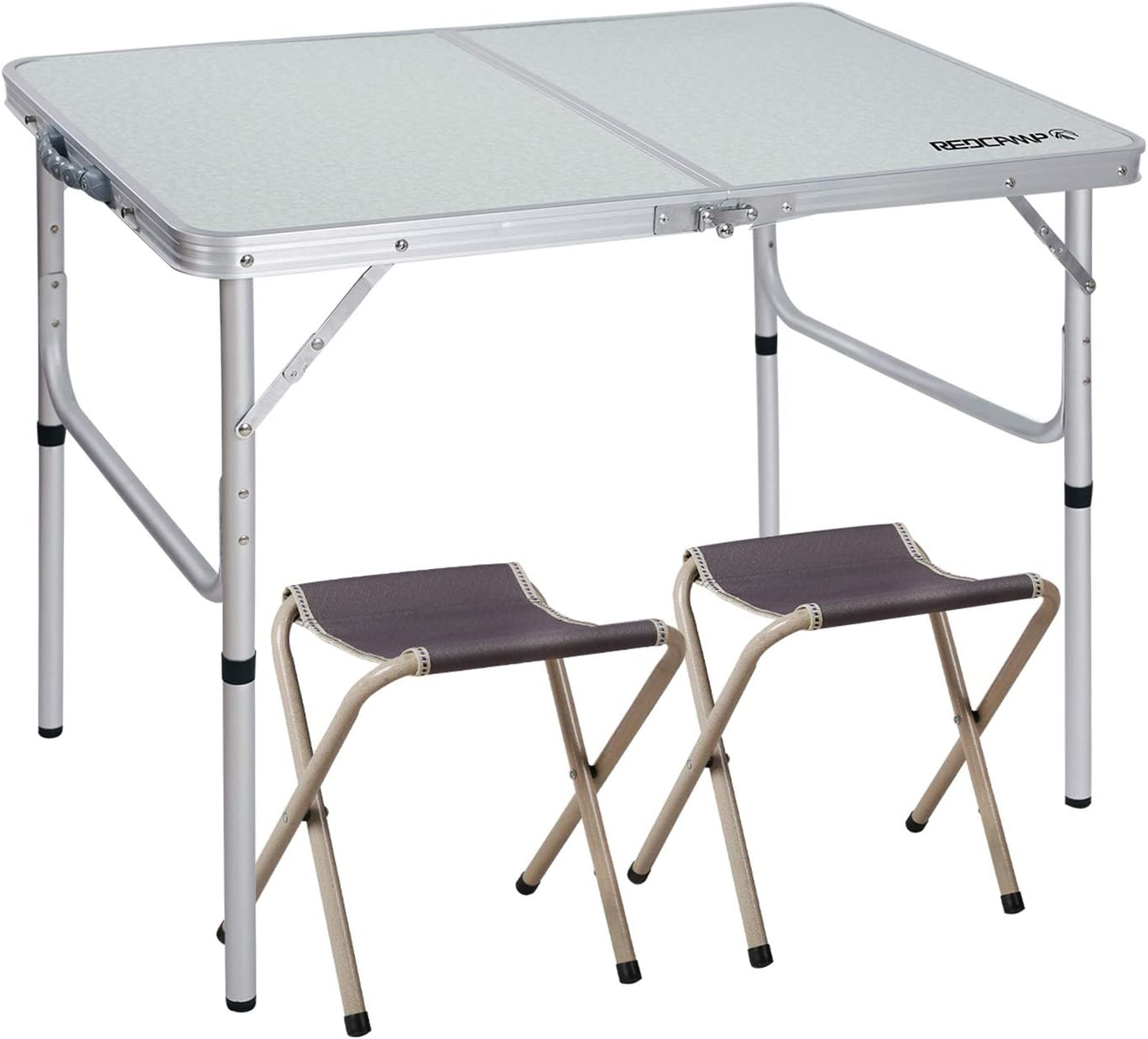 Redcamp 3 Foot Aluminum Folding Table And Chairs Set Adjustable Height Lightweight Portable Camping Table For Picnic Outdoor Indoor 3ft With 2 High Stools Furniture Decor