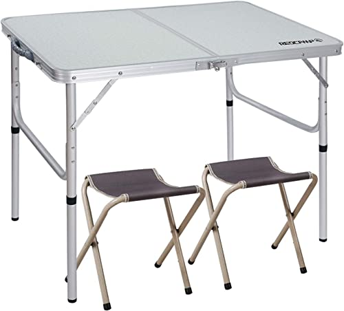 REDCAMP 3 Foot Aluminum Folding Table and Chairs Set, Adjustable Height Lightweight Portable Camping Table for Picnic Outdoor Indoor White with 2 Stools