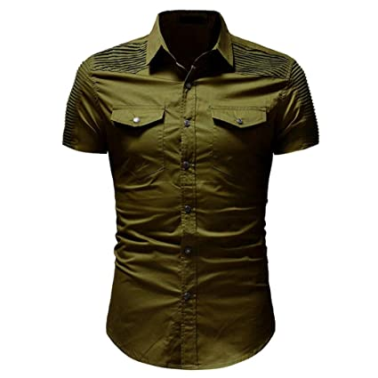 Hombre Camiseta Manga Cortas,Hombre Informal Delgado Ajuste Camisa botón con Bolsillo Blusa de Manga