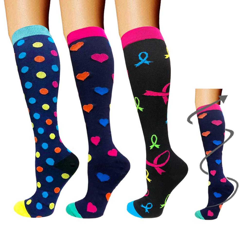 Compression Socks 3 Pairs For Women & Men-Best Compression Stockings For Running - 20-25mmHg (S/M, Assorted 5)